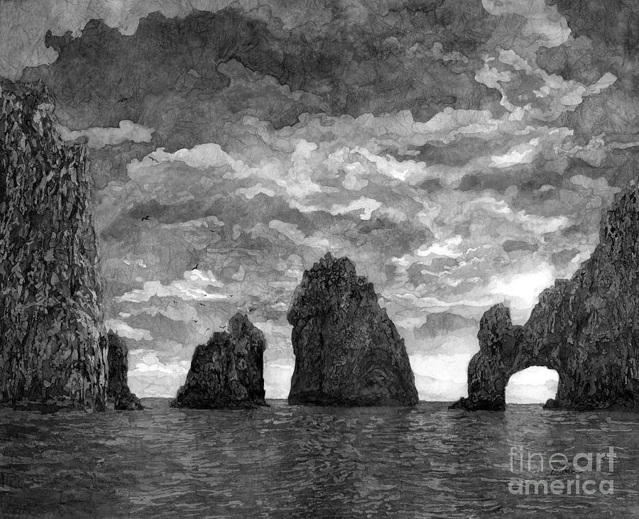 Sunset Painting - El Arco in Black and White by Hailey E Herrera
