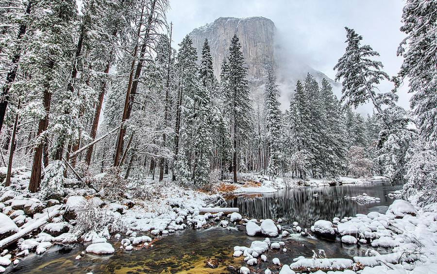 El Capitan And The Merced River With Snow In Yosemite National Park Photograph