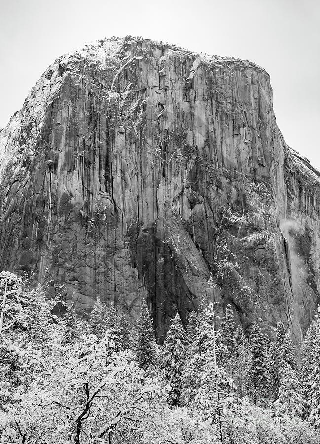 El Capitan in the snow Yosemite National Park by Dustin K Ryan