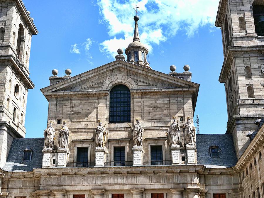 El Escorial Coutyard  Statuary - Madrid Photograph