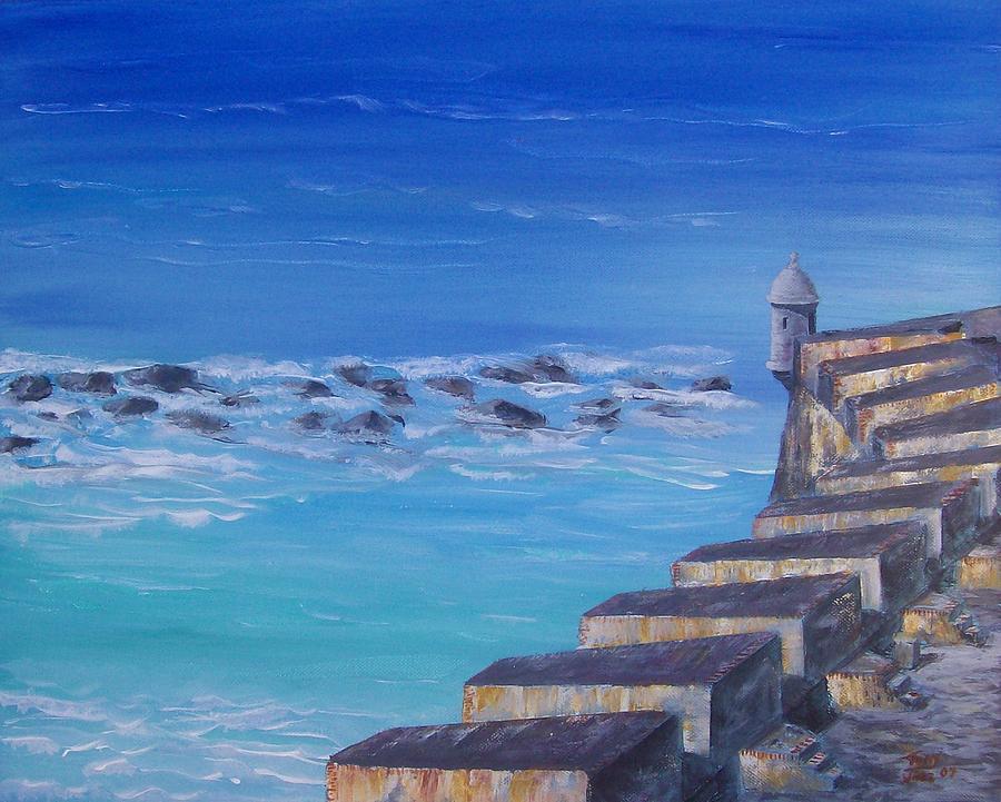 El Morro Fortress Painting - El Morro Fortress by Tony Rodriguez