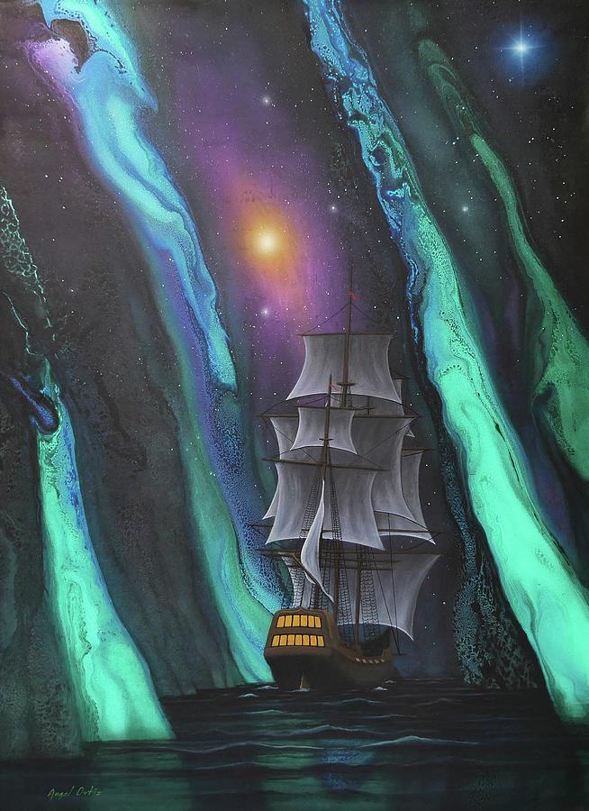 Pirate Ship Painting - El Portal version 3 by Angel Ortiz