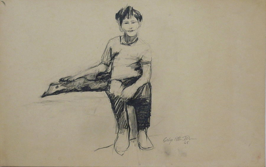 Boy Drawing - Eldad by Galya Tarmu