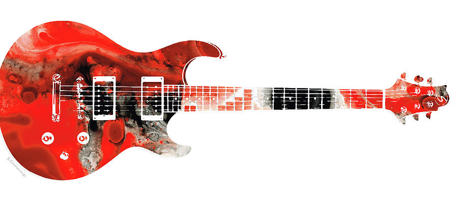 Guitar Painting - Electric Guitar - Buy Colorful Abstract Musical Instrument by Sharon Cummings