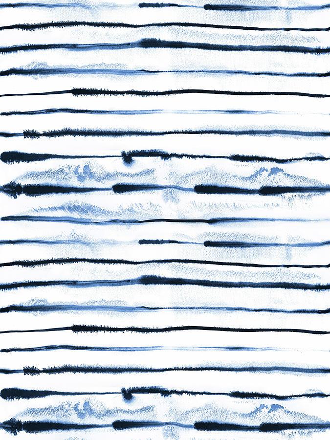 Electric Ink Lines Indigo Painting By Ninola Design