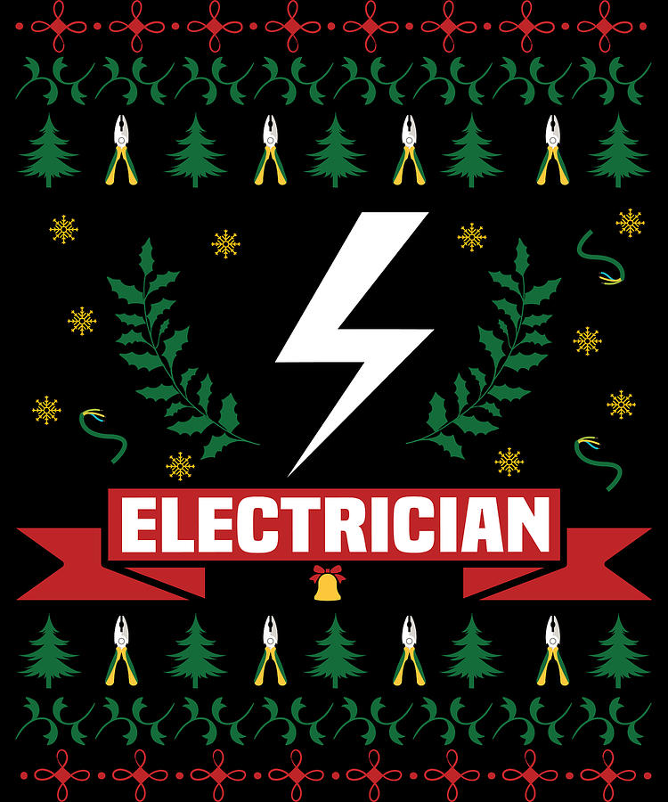 Stocking Stuffer Digital Art - Electrician Ugly Electricity Christmas by Michael S
