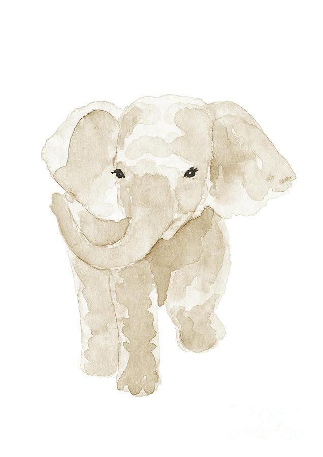 Elephant Art Print Beige Nursery Poster Elephant Nursery Art