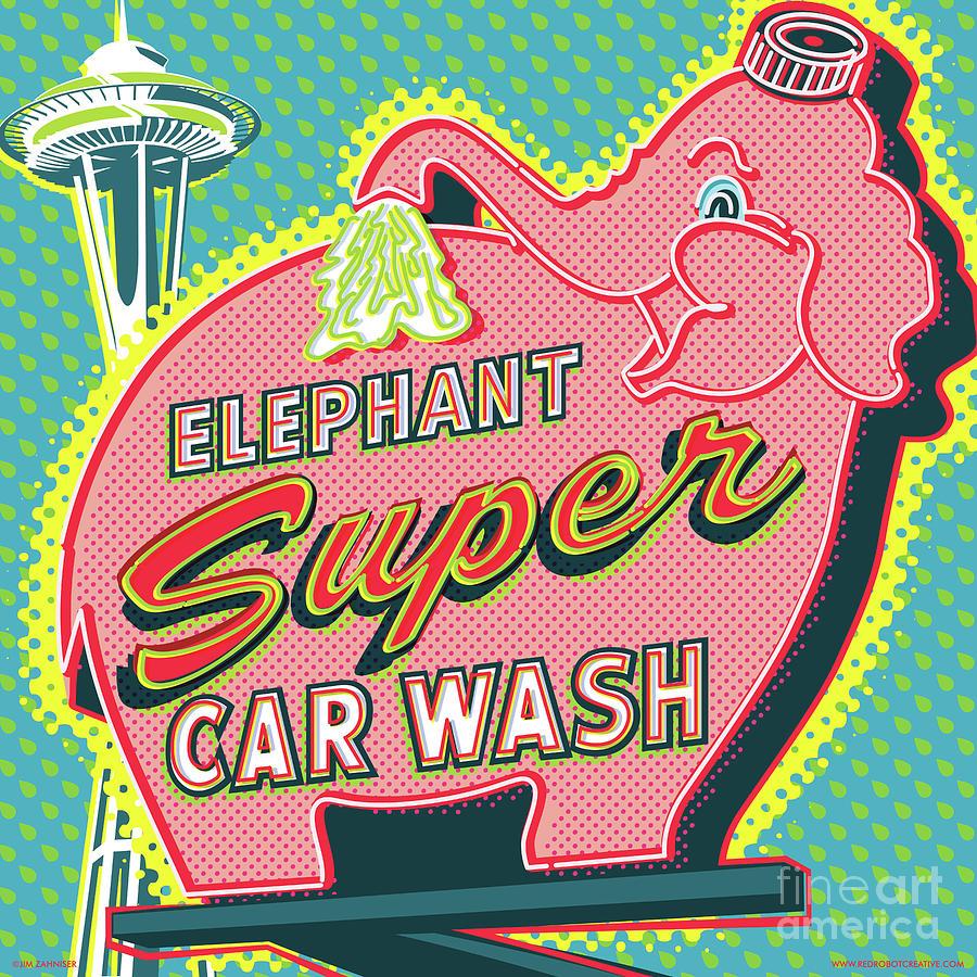 Googie Digital Art - Elephant Car Wash and Space Needle - Seattle by Jim Zahniser