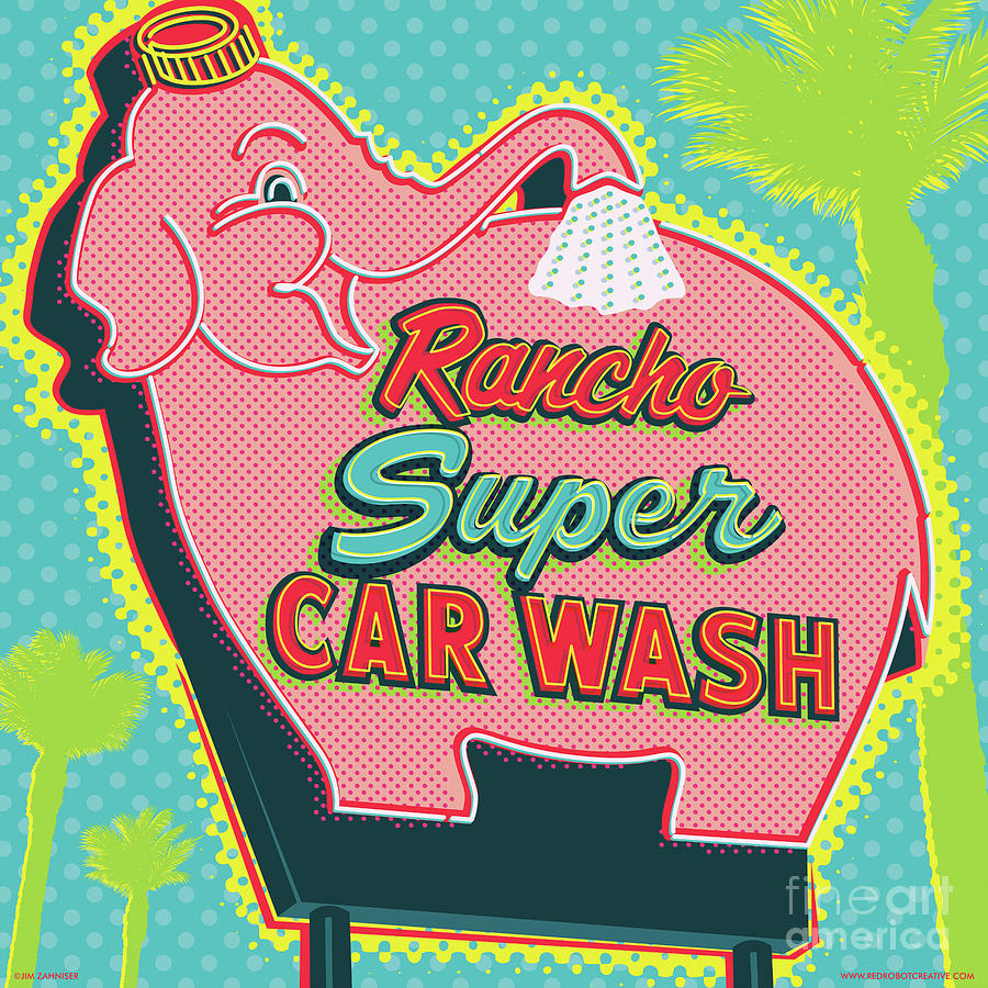 Googie Digital Art - Elephant Car Wash - Rancho Mirage - Palm Springs by Jim Zahniser