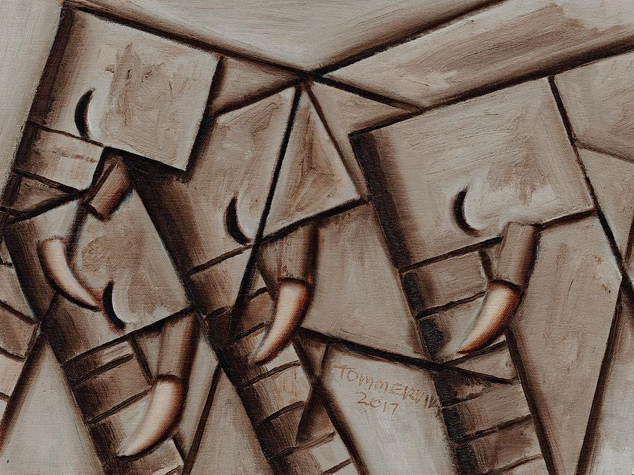 Elephant Painting - ATommervik bstract Elephant Herd Geometric Animal  Wall Art Print by Tommervik
