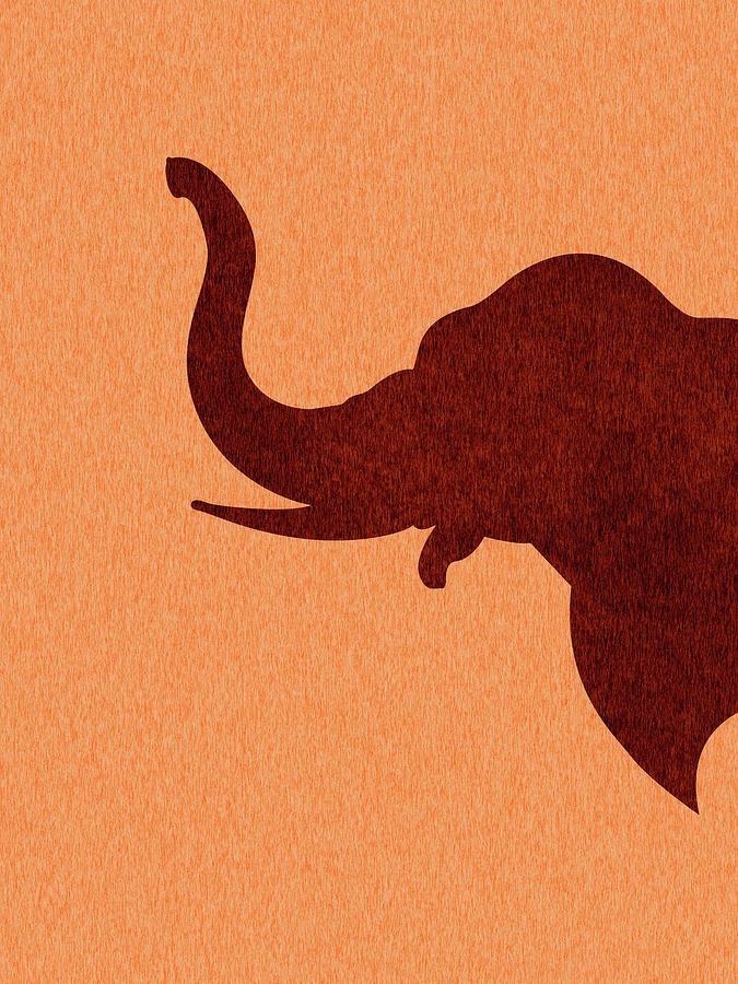 Elephant Silhouette - Scandinavian Nursery Decor - Animal Friends - For Kids Room - Minimal Mixed Media