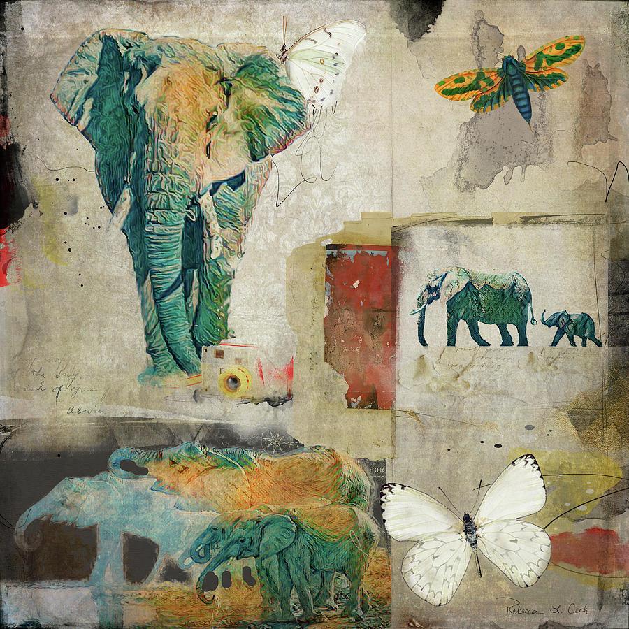 Elephants And Butterflies Digital Art