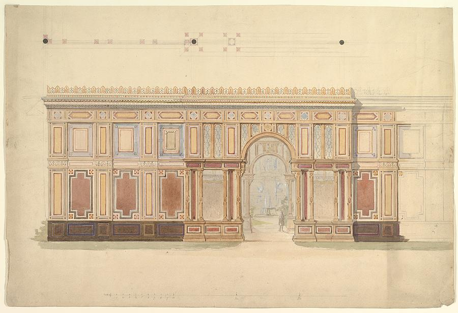 Elevation And Cross Section Of Of Gallery Wall Painting