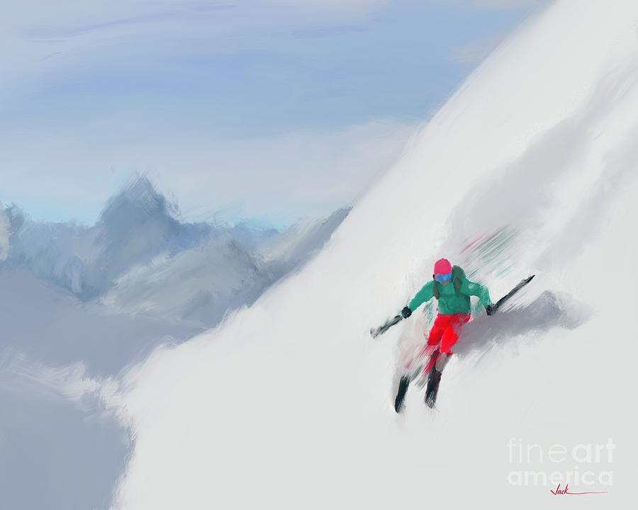 Skiing Painting - Elite Skiing by Jack Bunds