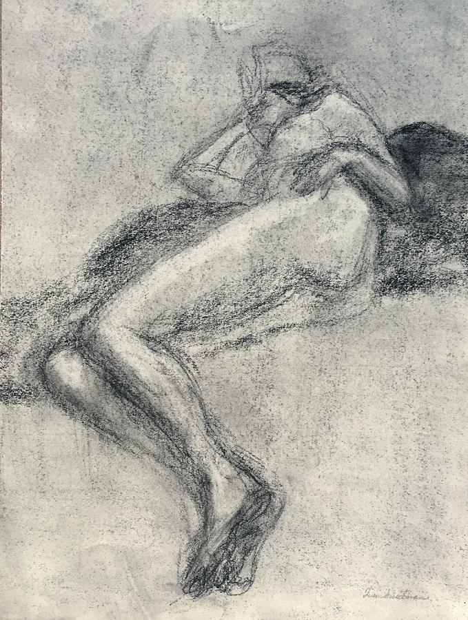 Elizabeth in Repose II, Original Charcoal Drawing, Impressionist Art by Quin Sweetman