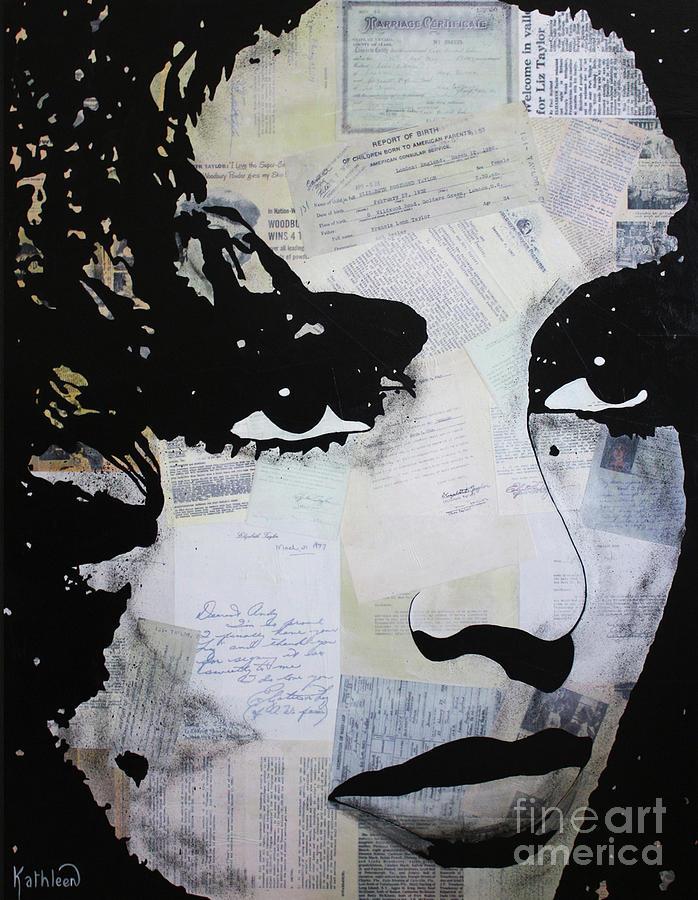 Elizabeth Taylor Press Painting Mixed Media