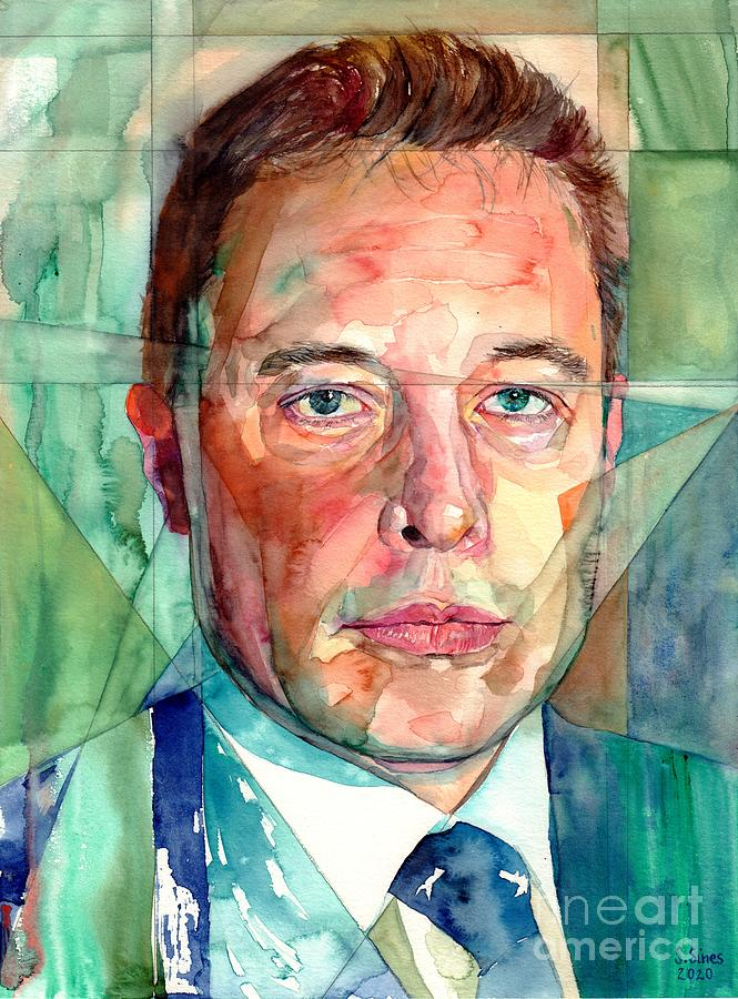 Engineer Painting - Elon Musk Portrait by Suzann Sines