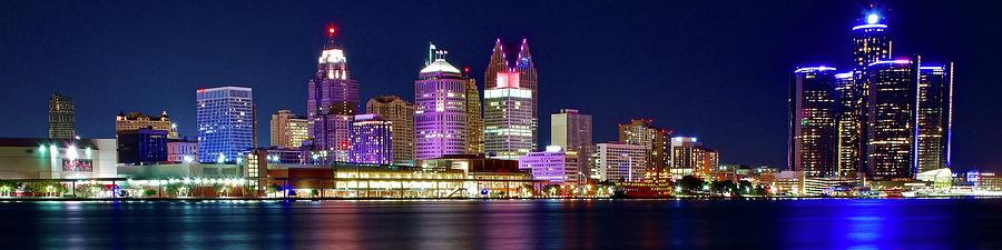 Detroit Photograph - Elongated Pano of the Motor City by Frozen in Time Fine Art Photography