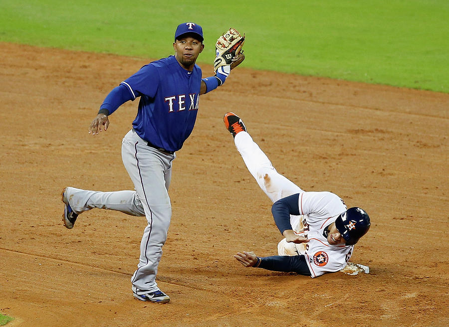 Elvis Andrus and George Springer Photograph by Scott Halleran