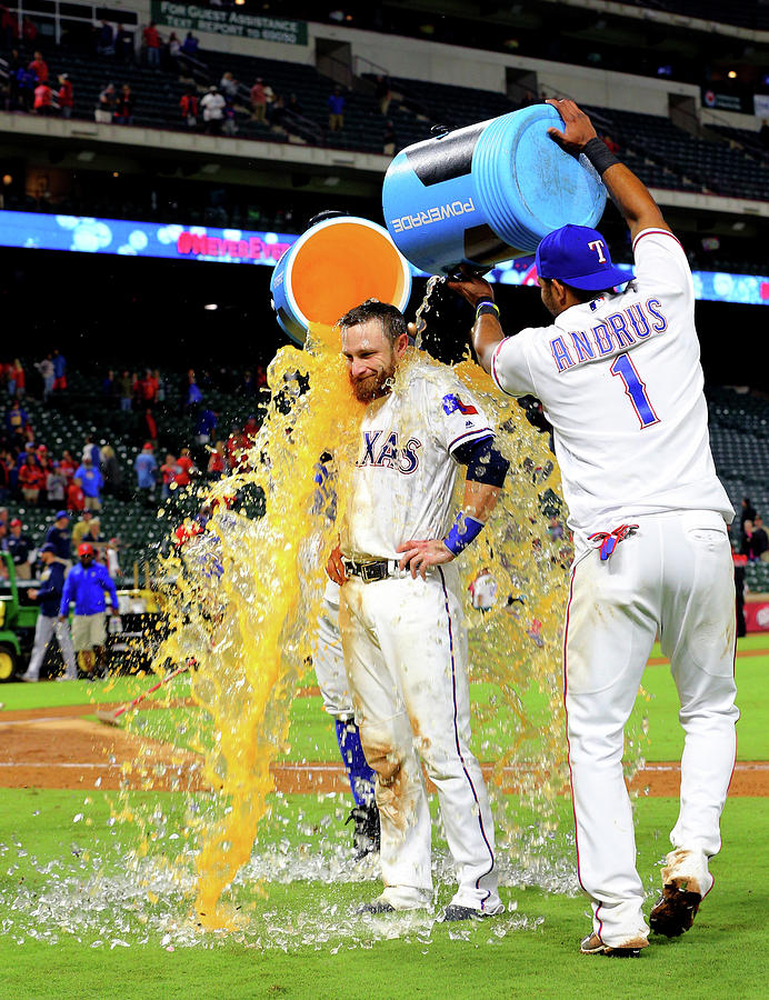 Elvis Andrus and Jonathan Lucroy Photograph by Rick Yeatts
