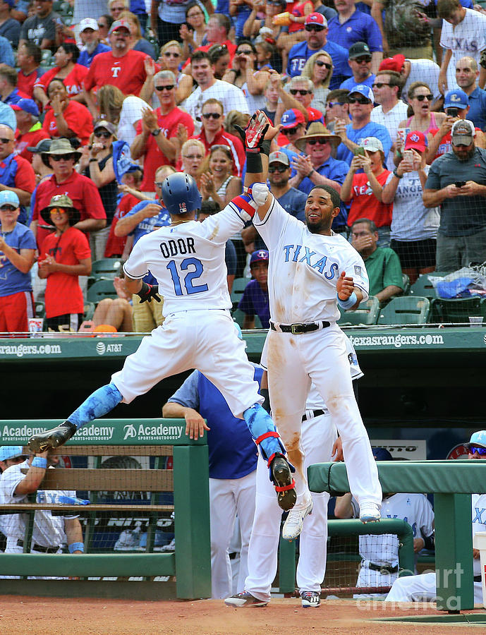 Elvis Andrus and Rougned Odor Photograph by Rick Yeatts