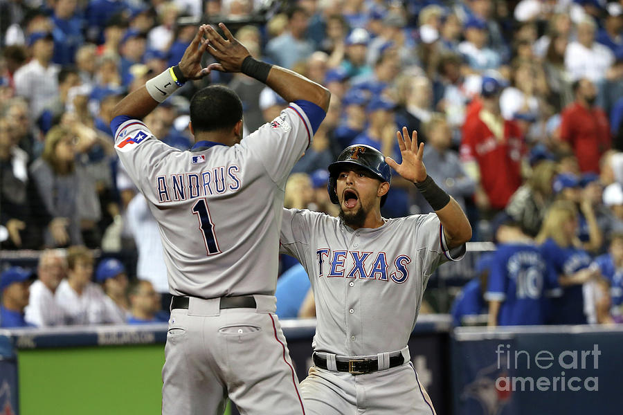 Elvis Andrus and Rougned Odor Photograph by Tom Szczerbowski