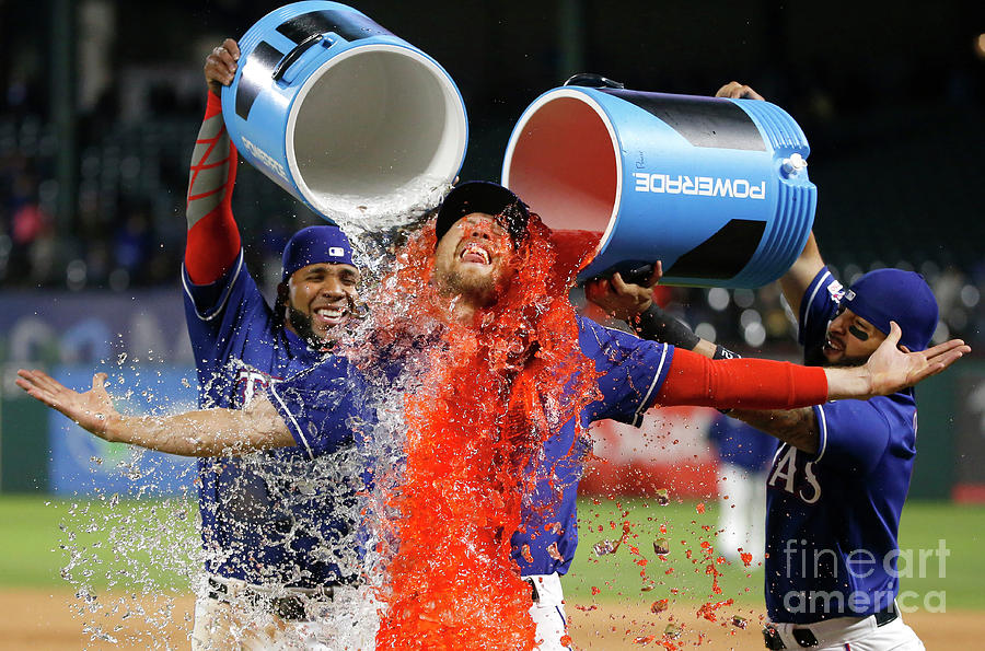 Elvis Andrus, Hunter Pence, and Rougned Odor Photograph by Ron Jenkins
