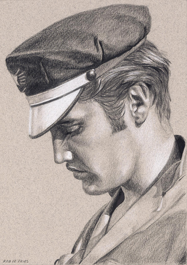 Elvis Drawing - Elvis in charcoal #222 by Rob De Vries