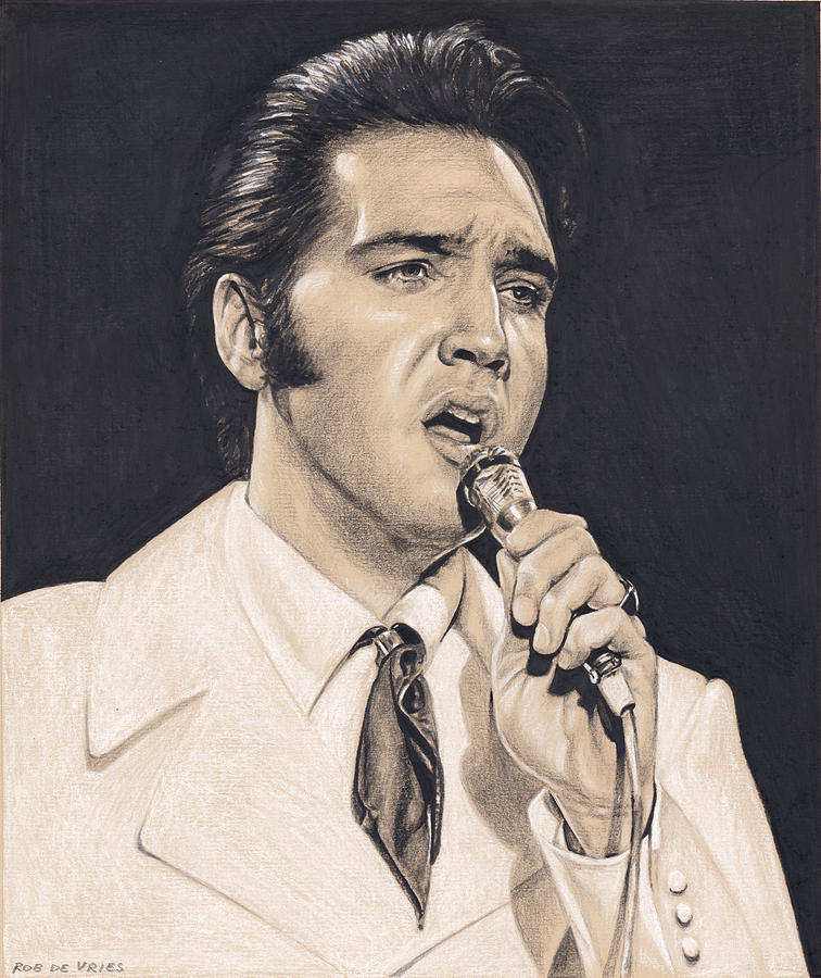 Elvis Drawing - Elvis in Charcoal #252 by Rob De Vries