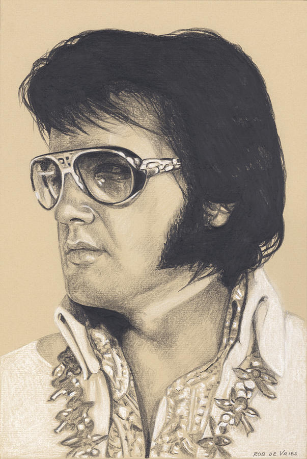 Elvis Drawing - Elvis in Charcoal #266 by Rob De Vries