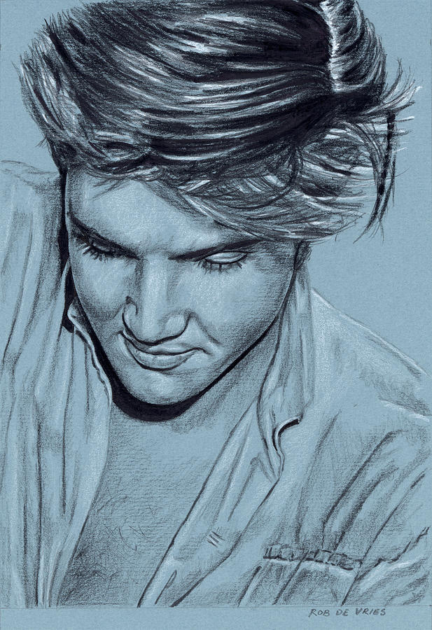 Elvis Drawing - Elvis in Charcoal no. 234 by Rob De Vries