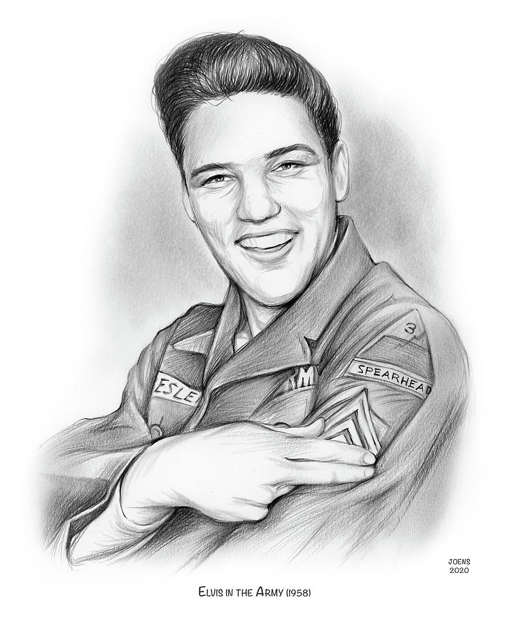 Army Drawing - Elvis In The Army by Greg Joens