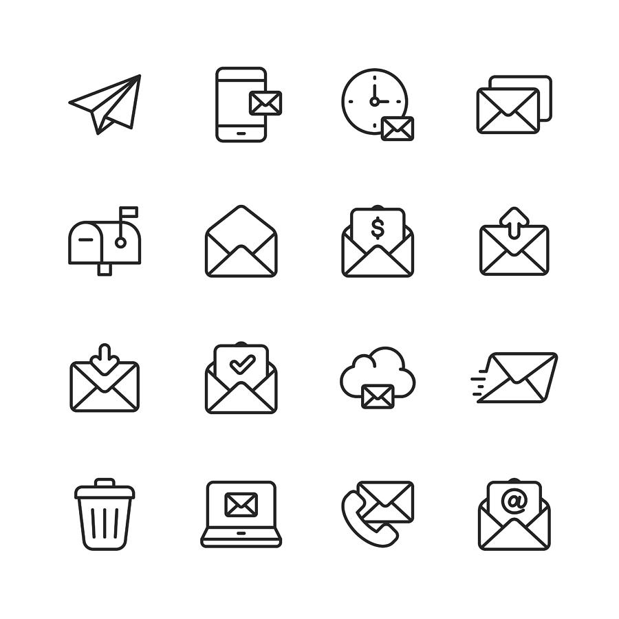 Email and Messaging Line Icons. Editable Stroke. Pixel Perfect. For Mobile and Web. Contains such icons as Email, Messaging, Text Messaging, Communication, Invitation, Speech Bubble, Online Chat, Office. Drawing by Rambo182