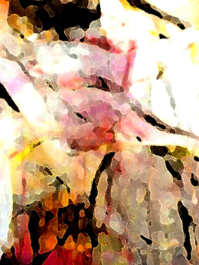 Abstract Digital Art - Embracing Secrets panel two of two by Linda Mears