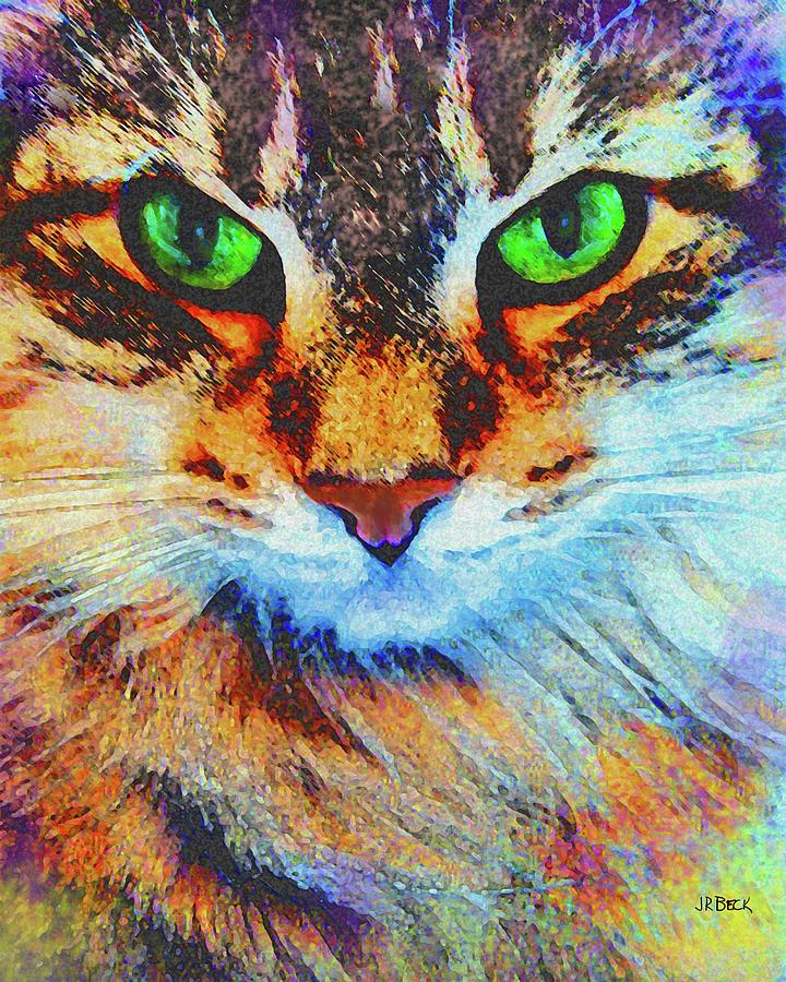 Cats Digital Art - Emerald Gaze by John Robert Beck