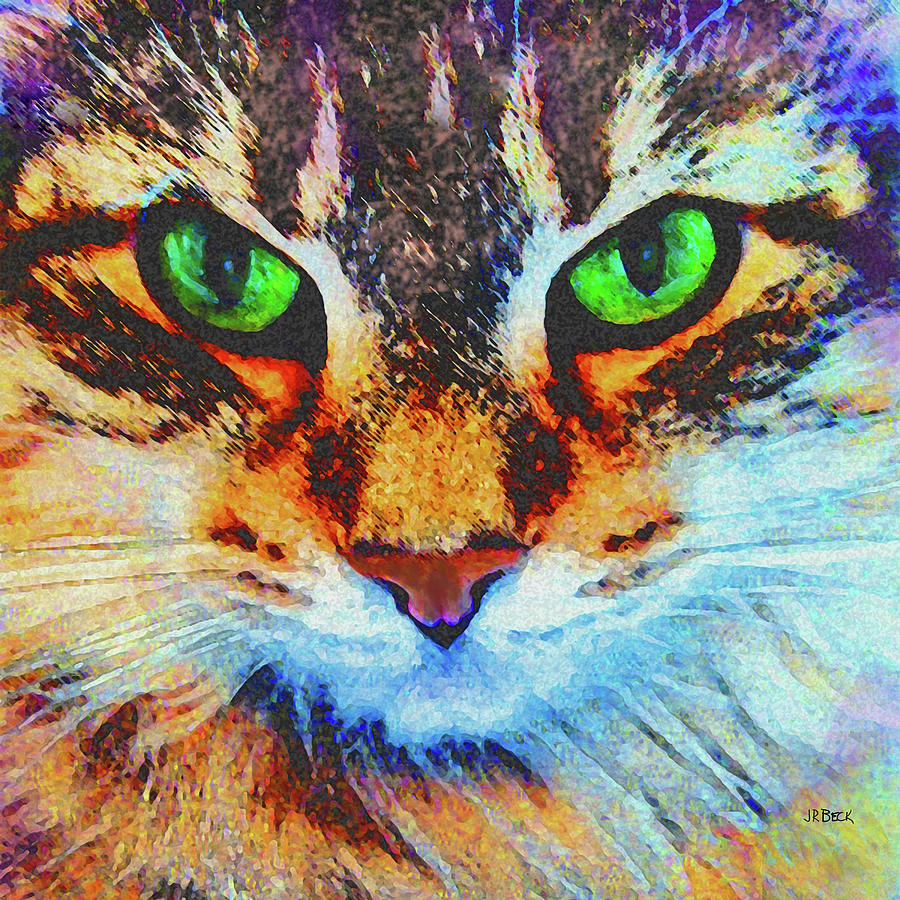 Cat Digital Art - Emerald Gaze - Square Version by John Robert Beck