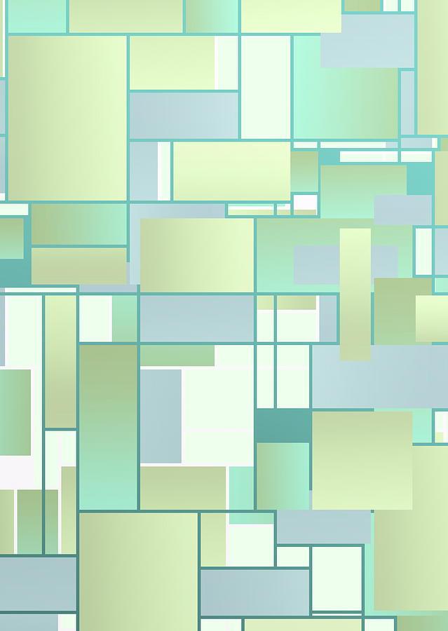 Emerald Geometric Composition Digital Art