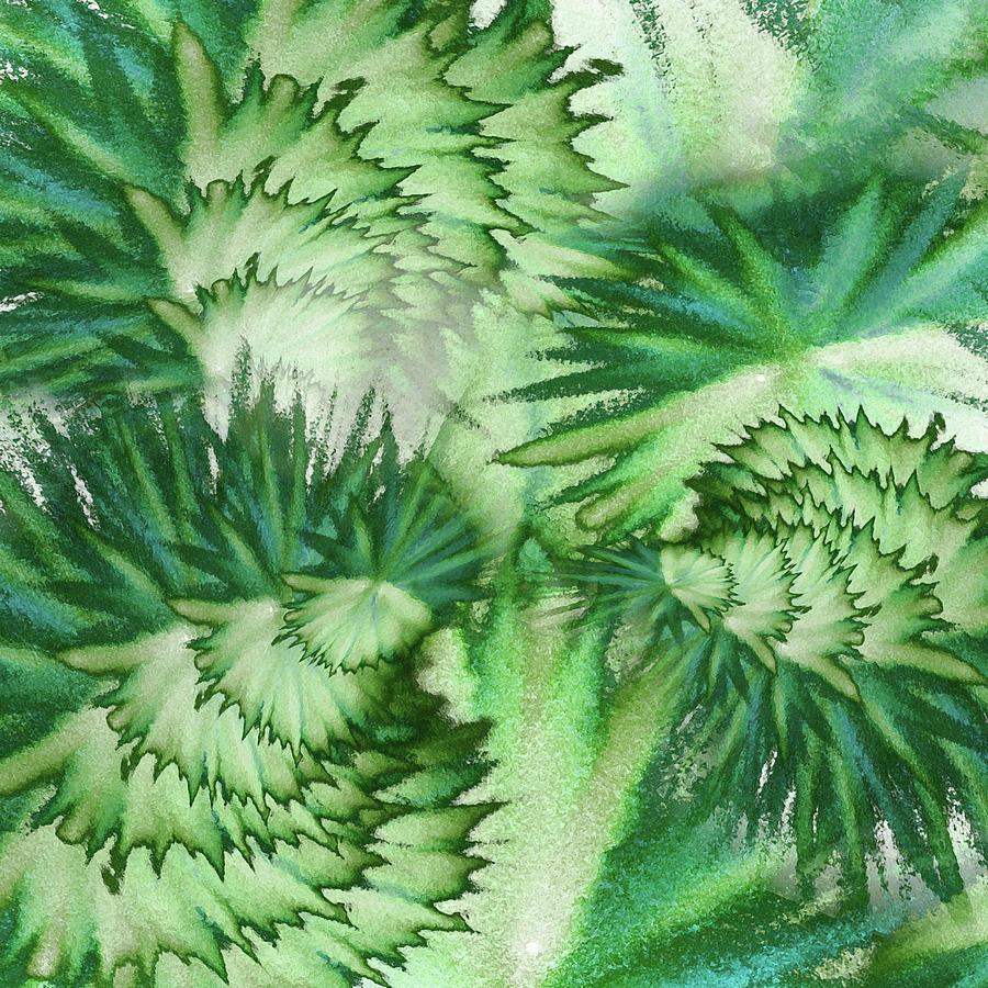 Emerald Green Organic Vortex Abstract Art Painting