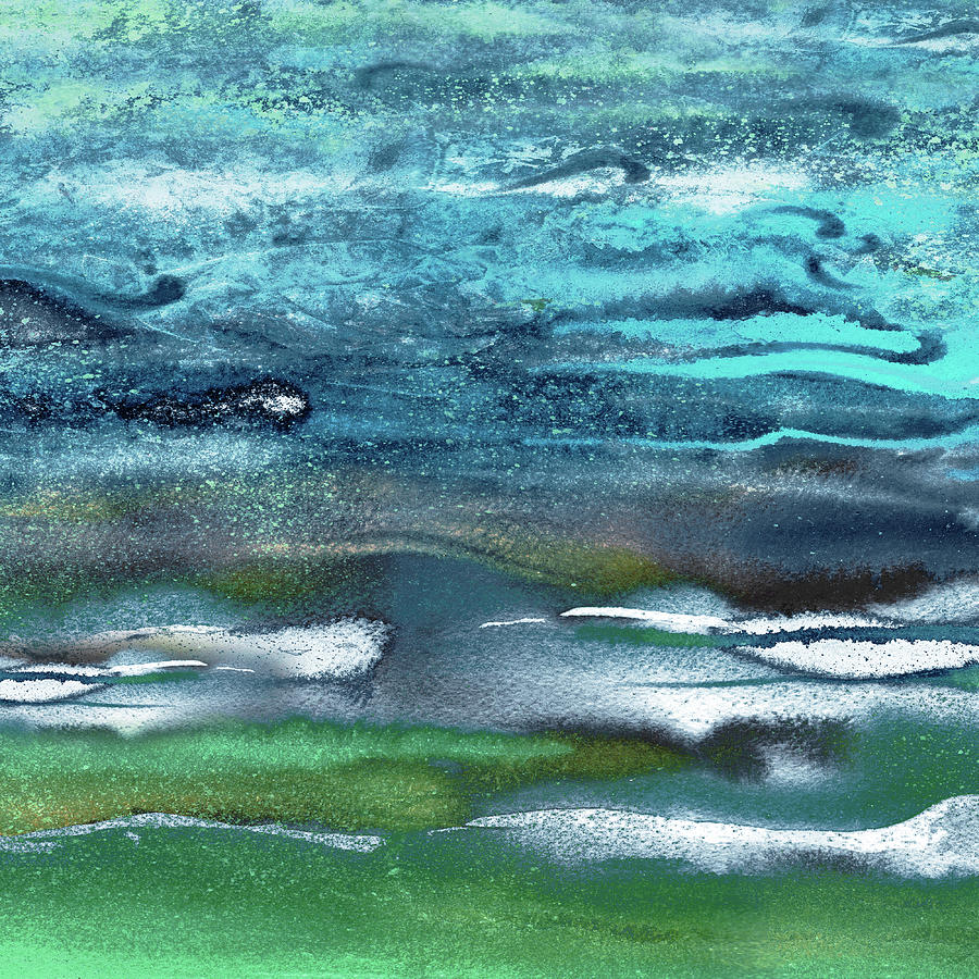 Emerald Waters Turquoise Blue Sea Waves Abstract Ripples Of The Ocean Beach Art Painting