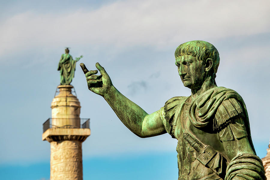 Emperor Trajan pointing at his column by Fabrizio Troiani