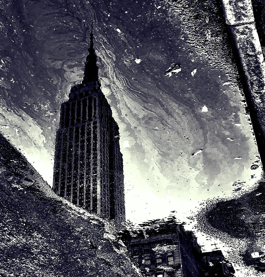 Empire State Building Photograph - Empire State Building In An Oily Puddle by Julia Maddox