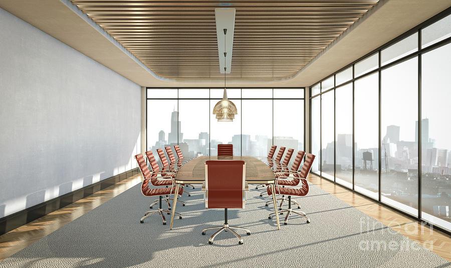 Empty Boardroom Interior Digital Art