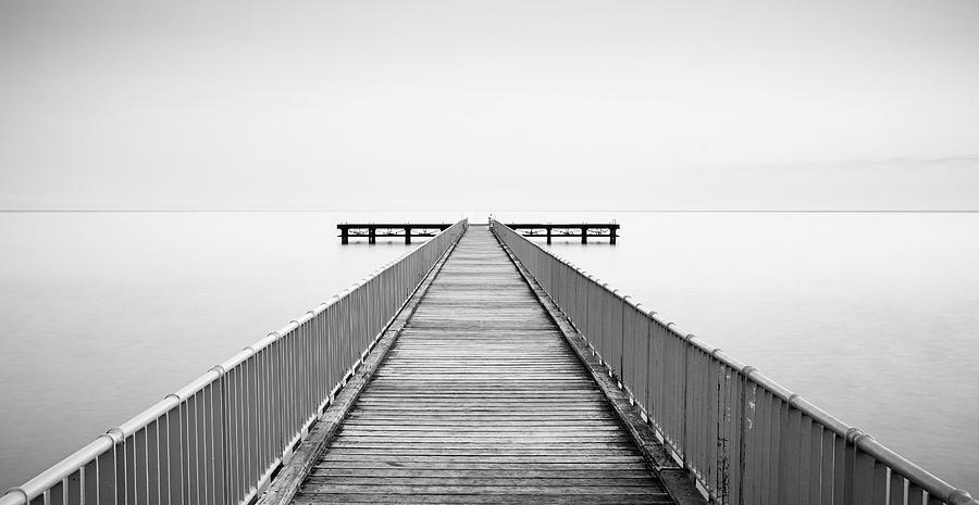 Empty Pier, Minimal Seascape Photograph