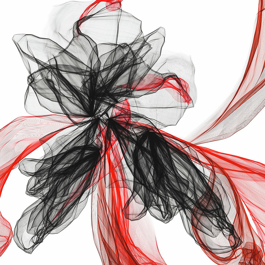 Enchanting - Black And Red Modern Artwork Painting