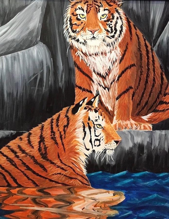 Tigers Painting - Encounter by Diane Sleger
