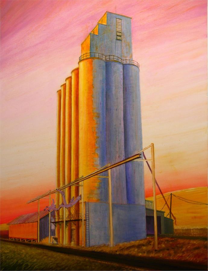 Grain Painting - Endicotte Silos by Leonard Heid