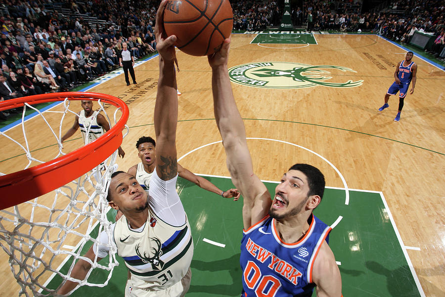 Enes Kanter and John Henson Photograph by Gary Dineen