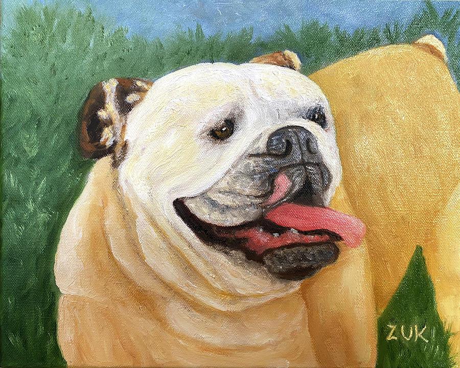 English Bulldog Painting by Karen Zuk Rosenblatt