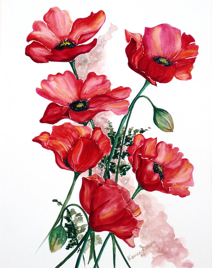 English Field Poppies. Painting by Karin  Dawn Kelshall- Best