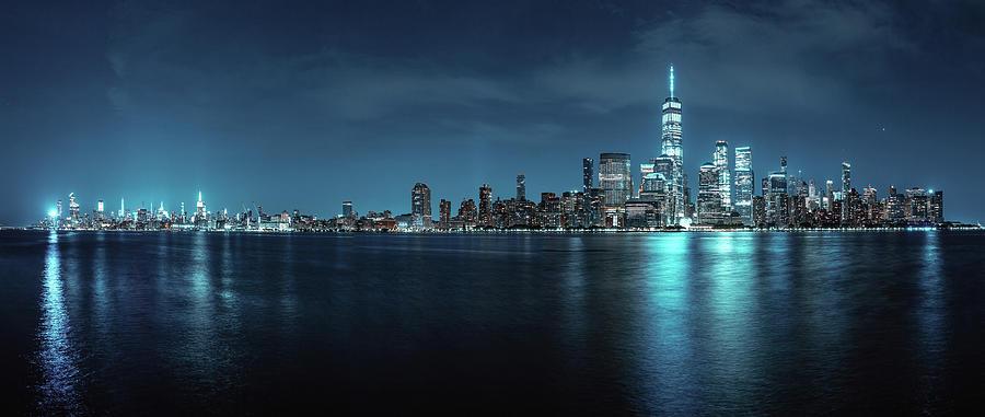 Entire Manhattan Skyline In Moonlight Photograph